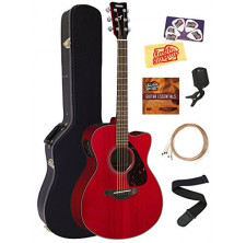 Yamaha FSX800C Small Body Acoustic-Electric Guitar Bundle with Hard Case, Tuner, Strap, Instructional DVD, Strings, Picks, an