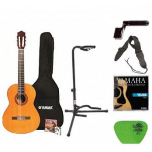 Yamaha C40 Full Size Nylon String Classical Guitar with Gig Bag Digital Tuner Guitar Stand, Yamaha Strings, String Winder, St