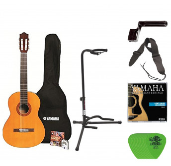 Yamaha C40 Full Size Nylon String Classical Guitar with Gig Bag Digital Tuner Guitar Stand, Yamaha Strings, String Winder, St
