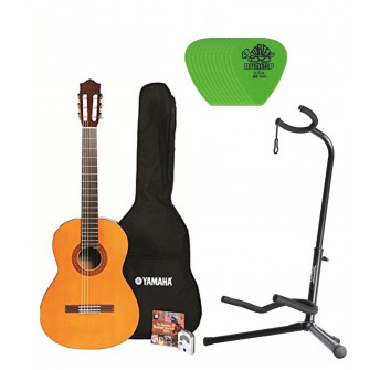 Yamaha C40 Nylon String Classic Guitar Bundle with Padded Bag, Digital Tuner, Stand ,Picks and Starter DVD