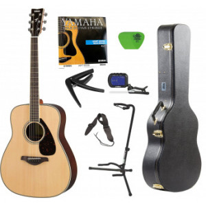 Yamaha FG830 Rosewood Acoustic Guitar with Hard Shell Case Guitar Stand Tuner Strings Picks and Strap