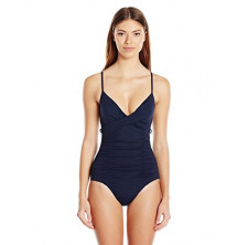 Seafolly Women's Core Gathered Wrap Front Maillot One Piece Swimsuit, Black, 10