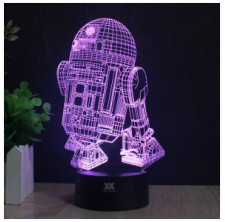 3D Lamp R2-D2 Table Night Light Force Awaken Model 7 Color Change LED Desk Light with Multicolored USB Power for Living Bed R