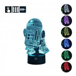 3D Lamp R2-D2 Table Night Light Force Awaken Model 7 Color Change LED Desk Light with Multicolored USB Power for Living Bed R