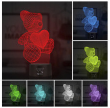 Cute Heart Bear 3D LED illusion Night Light Table Desk Lamps, Elstey 7 Color Changing Lights with Acrylic Flat & ABS Base & U