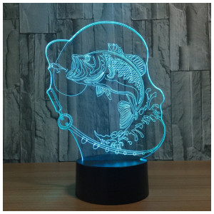 Circle Circle Bubble Fish 3D Optical Illusion Lamp 7 Colors Change and 15 Keys Remote Control LED Table Desk Lamp for Home Be