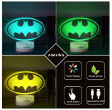AXAYINC 3D Night Light LED Illusion Desk Table Lamp 7 Colors Change USB Cable Touch Button Christmas Birthday Gift Kids Toy (